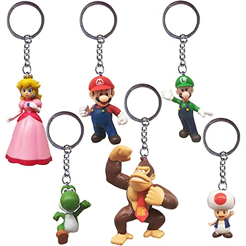 Schlüsselanhänger Super Mario Anhänger Nesloonp 6 Stück Gastgeschenke Glücksbringer Keychain Schlüsselring Metall Schlüsselringe für Kind PVC Figuren