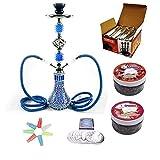 RMAN® Shisha Set Wasserpfeife mit 2 Schläuchen 55cm Shiazo Dampfsteine, Kohle, Folie und...