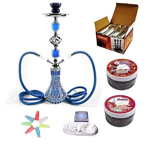 RMAN® Shisha Set Wasserpfeife mit 2 Schläuchen 55cm Shiazo Dampfsteine, Kohle, Folie und Kohlezange, Mundstücke