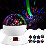 Star Sky Night Lamp,ANTEQI Baby Lights360 Degree Romantic Room Rotating Cosmos Star Projector with LED Timer Auto-Shut Off,USB Cable for Kid Bedroom,Christmas Gift (White)