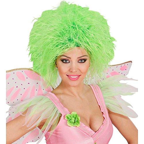 Amakando Perruque Femme Elfe Conte de fées Cheveux frisés ondulés Vert Fluo soirée à thème Punk Accessoire fête défilé de Carnaval