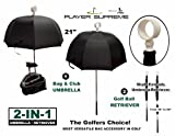 JP Lann Golf Bag Umbrella for Club Protection (with Attached Retriever)