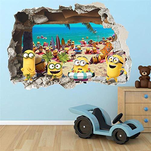 Terilizi 3D Muursticker Leuke Gele Jongen Op Vakantie Gebroken Raam Baby Kids Kamer Slaapkamer Decoraton Vinyl Decals Art Mural Poster