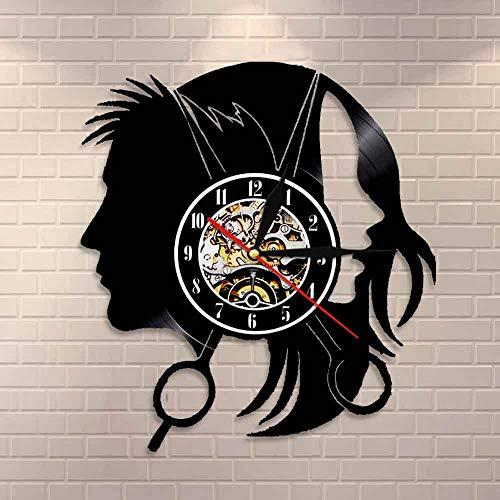 wtnhz LED-Peluquería Tienda Logotipo de la Empresa Reloj de Pared salón de peluquería Elegante Corte de Pelo Tijeras Corte de Pelo Corte de Pelo Vinilo Reloj de Pared