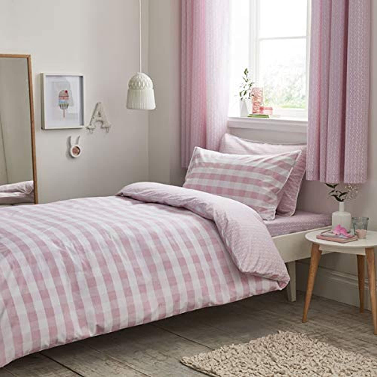 Kids white 100% Cotton Soft Duvet Cover Set - Gingham Print bluesh Pink - UK Single