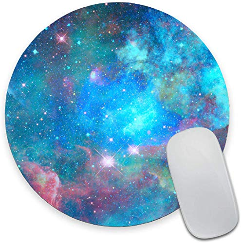 Blue Green Galaxy Mouse Pad, Round Gaming Mouse Mat Waterproof Circular Small Mouse Pad Non-Slip Rubber MousePads for Office Home Laptop Travel 7.9'x0.12' Inch