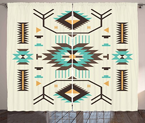 """Ambesonne Southwestern Curtains, Ethnic Illustration of a Zigzags Design Triangular Iconic Artwork Motifs, Living Room Bedroom Window Drapes 2 Panel Set, 108"""" X 63"""", Pale Yellow"""