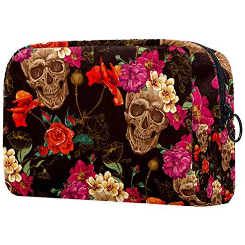 Neceser Maquillaje Portátil Cráneo Vintage Bolsa de Maquillaje Organizador de Maquillaje Bolso de Cosméticos de Viaje para niñas y Mujeres 18.5x7.5x13cm