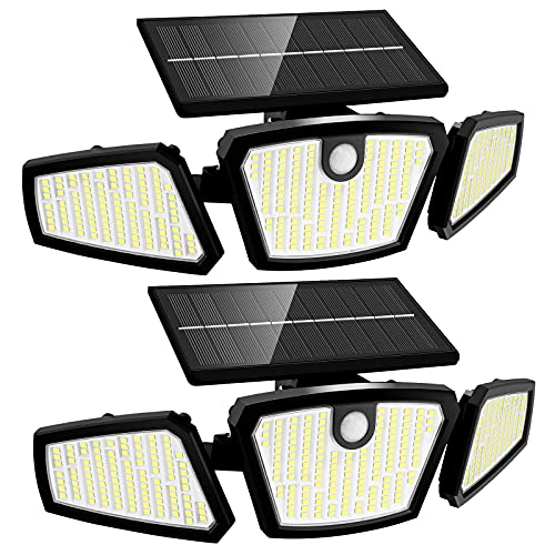 Solar Outdoor Lights - Motion Sensor Rotatable 350 LEDs Solar Powered Security Light with IP67 Waterproof Led Outdoor Lights Super Bright Solar Wireless Wall Light for Garage Yard Garage Patio (Black)