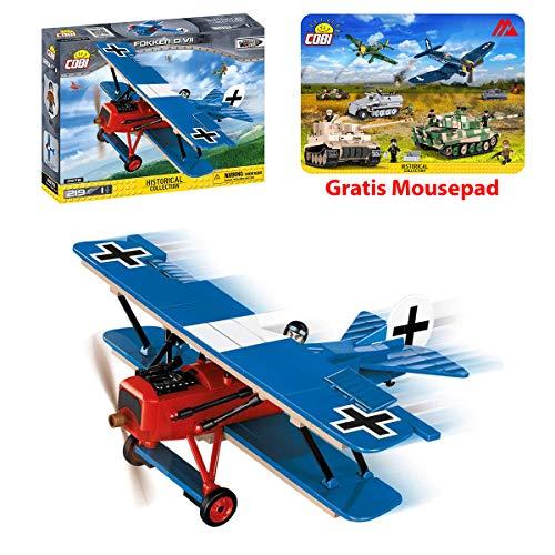 Juminox Konstruktion Spielzeug Bausteine Fokker D.VII - deutsches Kampfflugzeug COBI 2978 + Mauspad Gratis