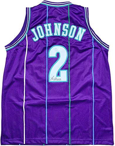 Larry Johnson autographed signed jersey NBA Charlotte Hornets PSA COA Grandmama