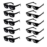 10 Pack Thug Life Party Sunglasses 8 Bit Pixelated Mosaic Gamer MLG Photo Props Glasses for Adults Teens