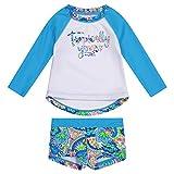 Tommy Bahama Girls' Long Sleeve 2-Piece Rashguard Swimsuit Bathing Suit, Turq Tropical, 24MO
