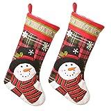 ZAZA Medias de Navidad para Colgar 1/2/3 PCS rústicos de Navidad Medias de Navidad muñeco de Nieve de Santa Colgar Bolsas de Calcetines for el Partido Casa Decoraciones Regalos de 15.3'