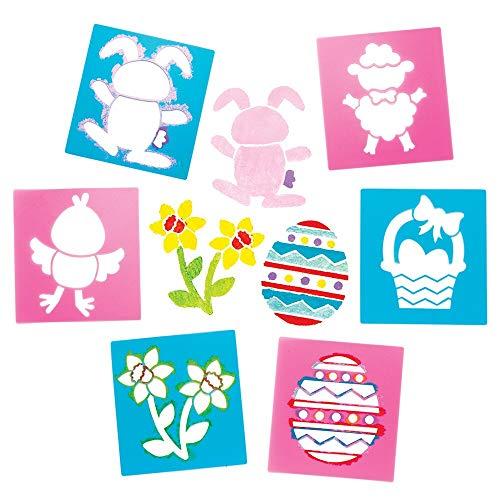 Baker Ross Pochoirs de Pâques (Lot de 6) - Loisirs créatifs de Pâques pour enfants AW149