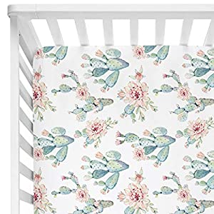 Sahaler Succulents Baby Crib Sheets for Boy Girl, Watercolor Cactus Fitted Crib Bed Mattress Sheets, Boho Baby Gift, Nursery Bedding fits Standard Crib Mattress 28×52″ (Watercolor Cactus)