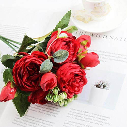1 bundel Silk Peony boeket woondecoratie accessoires bruiloft plakboek nep planten diy pompons kunstmatige rozen bloemen, rood