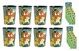 Bicchieri di plastica per festa di compleanno, motivo: Re Leone, 8 fogli di adesivi