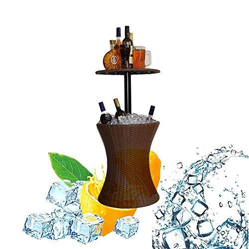 DODOBD Mesa de Jardín Enfriador Bebidas por Hielo, Bar al Aire Libre Fresco de Ratán Patio Fresco Mesa de Bar, Bebidas Cubo Ajustable en Altura Superior al Aire Libre de Mimbre Cubo