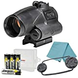 Sightmark Wolverine 1x28 FSR Red Dot Sight 2 MOA Dot Reticle Bundle with 4 AA Batteries and a Lightjunction Battery Case
