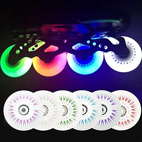 Ruedas de repuesto para patines en línea, 4 piezas 90A LED intermitentes, ruedas de repuesto con rodamientos de 72/76/80 mm, ruedas de hockey en línea, ruedas de equipaje (morada, 76 mm)