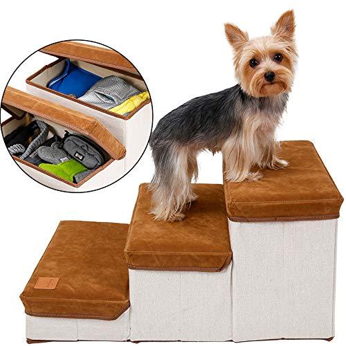 DOGLEMI ベッドステップ 3段 犬用踏み台 老犬 介護用 犬用階段 ドッグステップ、 小型犬 怪我防止 滑り止め 折り畳み 持ち運びに便利 収納機能持つ 洗濯可能 安全 耐久