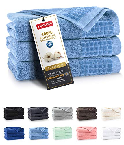 ZWOLTEX Himmlisch weiche Handtücher aus 100% Ägyptischer Baumwolle I Made IN EU I Gästehandtücher Ultra-Soft Duschtuch Badetuch - 3er Handtuch Set Hellblau