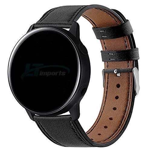 Pulseira de Couro 20mm para Samsung Galaxy Watch Active 40mm 44mm - Galaxy Watch 3 41mm - Galaxy Watch 42mm - Amazfit Bip - Amazfit GTR 42mm - Marca LTIMPORTS (Preto)