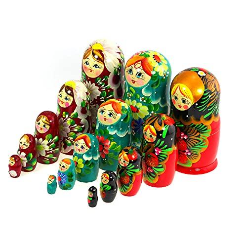Azhna Juego de 3 juegos de 5 piezas de 15 cm   5,91 pulgadas, souvenir matrioska, colección sorpresa de diseño de flores, estilo pintado a mano, muñecas rusas, apilables