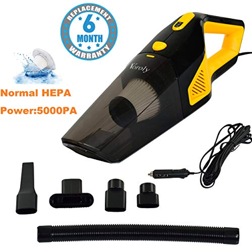 Voroly 5000PA Voroly High Power Handheld Car Vacuum Cleaner for Car Dry and Wet DC12V (Normal HEPA...