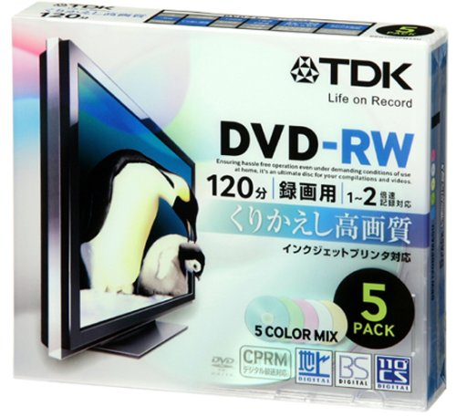 TDK Re-writable DVD-RW CPRM support 4.7GB 120min 1-2x 5color mix Inkjet printable 5pack 5mm slim case DRW120DPMA5U (Japan Import)