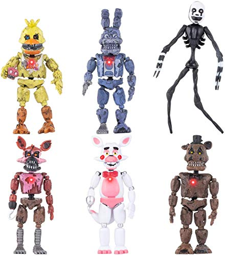 6Pcs/Set Five Nights at Freddy's Figure FNAF Toys, FNAF Action Figures Toy Set, FNAF Figure Funtime Freddy Foxy Sister Location Horror Doll,Xmas Gifts Cake Toppers