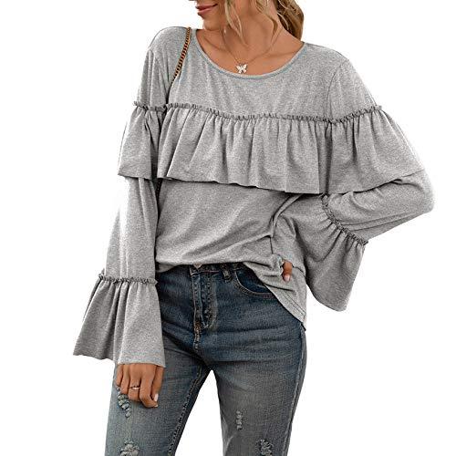 Herbst/Winter Damenbekleidung Lose LäSsige RüSchenstiche LangäRmlige, Einfarbige, Mittellange T-Shirt-Oberteile FüR Frauen