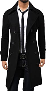 Mens Winter Trench Coat Long Jacket Double Breasted Overcoat