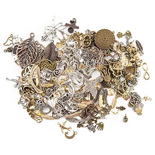 KIMI-HOSI 120g Antico Casuale Assortiti Ciondoli Steampunk Misto Ornamento Pendente in Metallo Vintage per Decorazione fai da te Creazione di Gioielli - Colore Casuale