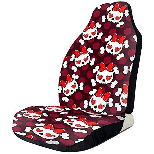 Schattige schedel botten met rode strik Tie grappige grafische zwart voorzijde stoelhoezen beschermer