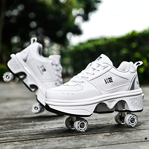 Inline Skates Damen, Roller Skates Verstellbar, 2-in-1-Mehrzweckschuhe, Verstellbare Quad-Rollschuh-Stiefel,EU39