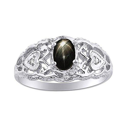 Juego de anillos de zafiro de estrella negra y diamante en oro blanco de 14 quilates con corazones