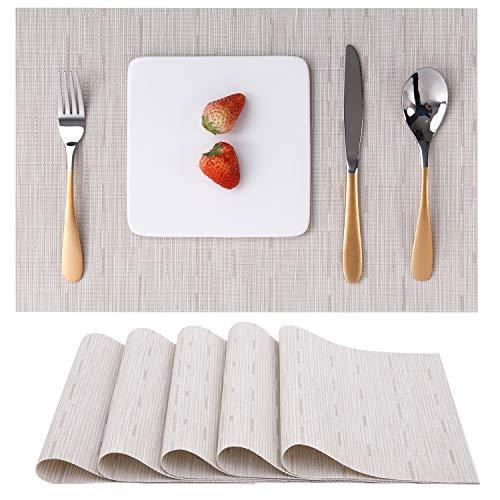 Myir JUN Tovagliette Americane Lavabili Plastica, Tovagliette Non-scivolose Resistenti al Calore, Set da 6 Tovagliette per Tavolo da Cucina (Beige)