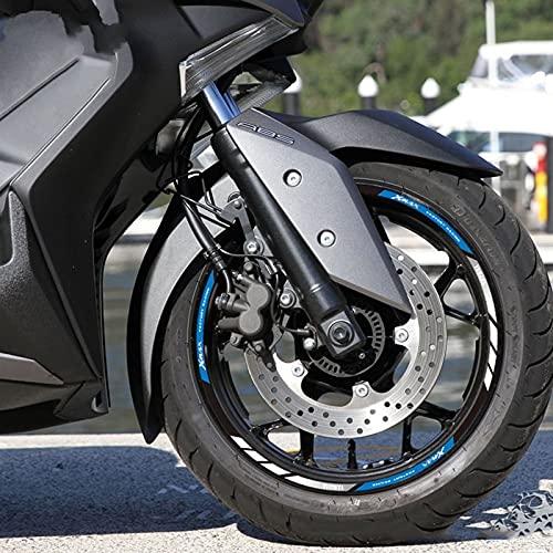 Etiquetas engomadas decorativas de la motocicleta Calcomanía De Llanta Reflectante Impermeable Para Motocicleta Modificada Para Buje Para Y-AMAHA Xmax 250300400 Tmax 500530 (Color : Blue)
