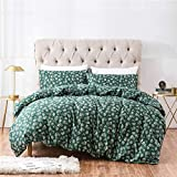 PinkMemory Green Floral Duvet Cover King Vintage Floral Bedding Set with Pillowcases Natural Cotton Zipper Closure Durable-No Filler