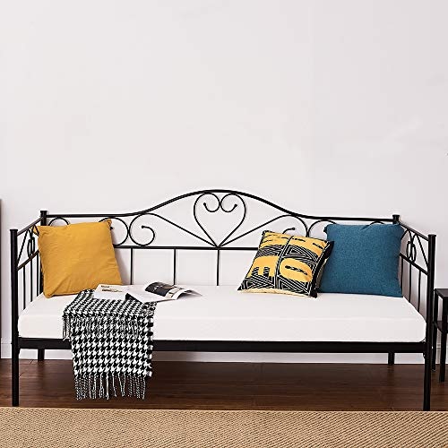 Panana Single Day Bed Metal Guest Bed Frame Sofa Bed for Living Room Bedroom Fits for 90 * 190 cm Mattress (Black, Daybed)