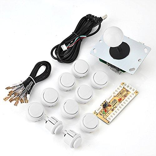Kit de Joystick para PC: Piezas de Juegos de Bricolaje Arcade Zero Delay USB Encoder Board + Joystick + Push Buttons para PS3, para Raspberry Pi 1/2/3, para Windows(Blanco)