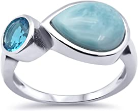 Oxford Diamond Co Sterling Silver Pear Natural Larimar Ring Sizes 5-10