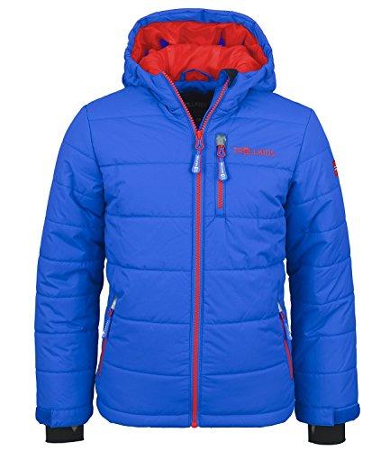 Trollkids Kinder wasserdichte Skijacke/Winterjacke Hemsedal, Mittelblau/Rot, Größe 152