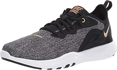 Nike Women's Flex Trainer 9 Sneaker, Black/Metallic Gold-Gunsmoke, 6 Regular US