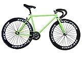 Fixie Helliot Brooklyn H36 - Bicicleta Fixie, Cuadro de Acero, Frenos V-Brake, Horquilla Acero y Ruedas de 26', Color Verde