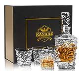 KANARS Whisky Karaffe und Gläser Set, Whiskey Dekanter 800 ml mit 4×270 ml Gläsern, Kristallglas Whiskybecher, Hochwertige Qualität, Luxuriös Geschenk, 5-teiliges