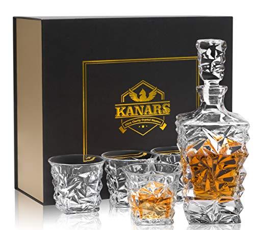 KANARS Bicchieri e Bottiglie Whisky, Decanter da Whiskey Cristallo, 800 ml Bottiglia con 4X 270 ml Bicchieri, 5 Pezzi, Bellissimo Regalo