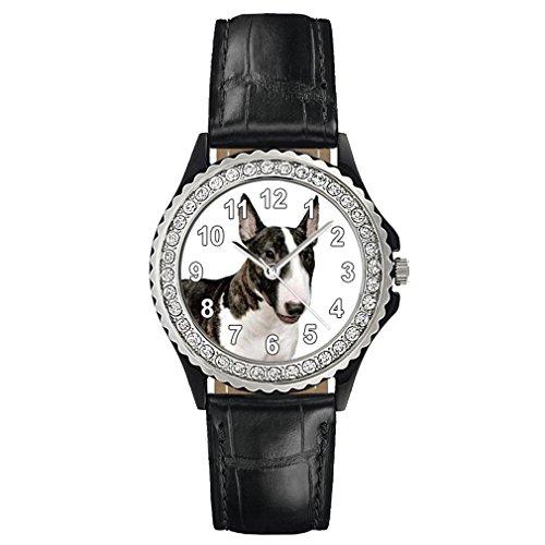Timest - Bullterrier - Strass Damenuhr mit Lederarmband schwarz Rund Analog Quarz CSG0046b